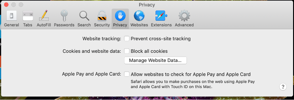 "Make sure ""Prevent cross-site Tracking"" is turned off in Safari Web Browswe."