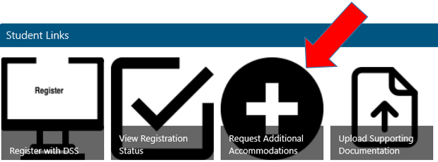 "Click on the ""Request Additional Accommodations"" tab in Sharepoint"